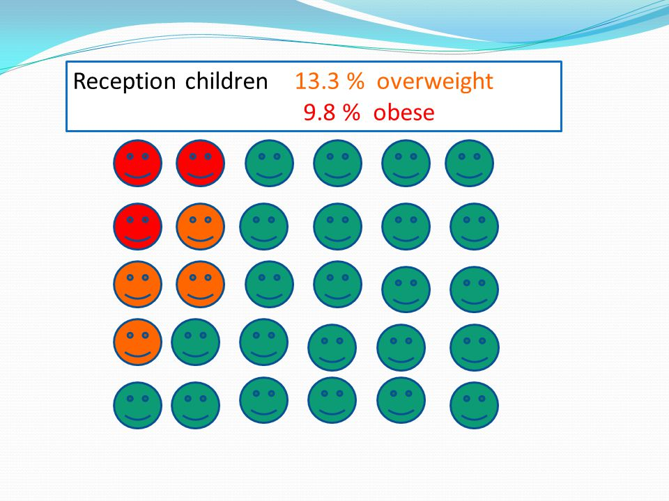Reception children 13.3 % overweight 9.8 % obese