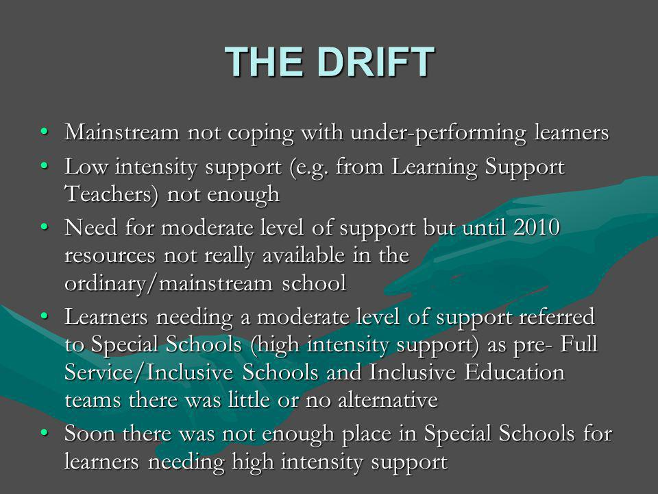 WHITE PAPER 6 (2001) Building an Inclusive Education and Training System Continuum of Support 0 LOW MODERATE HIGH HIGH Mainstream + Itinerant Learning Support Teacher + Mainstream Unit/Resource Class + Specialist Support ( IE Team) + Itinerant Learning Support Teacher Special Schools Schools as Resource Centres(17) + IE Teams Special Care Centres (47) + MD Team