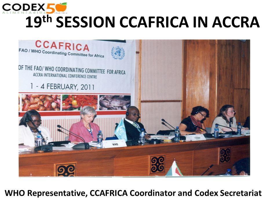 19 th SESSION CCAFRICA IN ACCRA WHO Representative, CCAFRICA Coordinator and Codex Secretariat