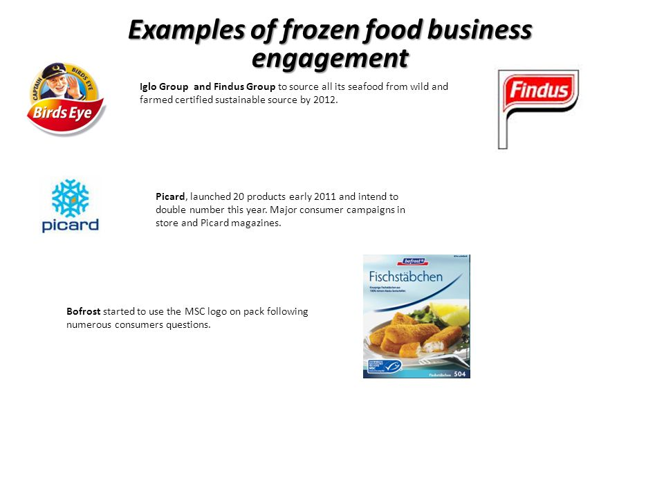Iglo Group and Findus Group to source all its seafood from wild and farmed certified sustainable source by 2012.