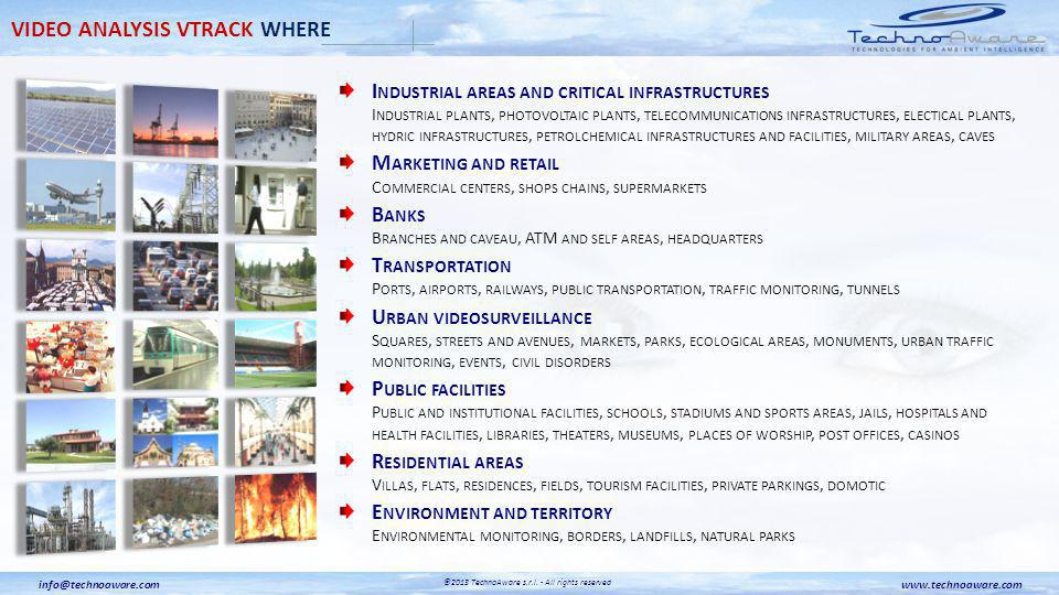 I NDUSTRIAL AREAS AND CRITICAL INFRASTRUCTURES I NDUSTRIAL PLANTS, PHOTOVOLTAIC PLANTS, TELECOMMUNICATIONS INFRASTRUCTURES, ELECTICAL PLANTS, HYDRIC INFRASTRUCTURES, PETROLCHEMICAL INFRASTRUCTURES AND FACILITIES, MILITARY AREAS, CAVES M ARKETING AND RETAIL C OMMERCIAL CENTERS, SHOPS CHAINS, SUPERMARKETS B ANKS B RANCHES AND CAVEAU, ATM AND SELF AREAS, HEADQUARTERS T RANSPORTATION P ORTS, AIRPORTS, RAILWAYS, PUBLIC TRANSPORTATION, TRAFFIC MONITORING, TUNNELS U RBAN VIDEOSURVEILLANCE S QUARES, STREETS AND AVENUES, MARKETS, PARKS, ECOLOGICAL AREAS, MONUMENTS, URBAN TRAFFIC MONITORING, EVENTS, CIVIL DISORDERS P UBLIC FACILITIES P UBLIC AND INSTITUTIONAL FACILITIES, SCHOOLS, STADIUMS AND SPORTS AREAS, JAILS, HOSPITALS AND HEALTH FACILITIES, LIBRARIES, THEATERS, MUSEUMS, PLACES OF WORSHIP, POST OFFICES, CASINOS R ESIDENTIAL AREAS V ILLAS, FLATS, RESIDENCES, FIELDS, TOURISM FACILITIES, PRIVATE PARKINGS, DOMOTIC E NVIRONMENT AND TERRITORY E NVIRONMENTAL MONITORING, BORDERS, LANDFILLS, NATURAL PARKS VIDEO ANALYSIS VTRACK WHERE www.technoaware.cominfo@technoaware.com ©2013 TechnoAware s.r.l.