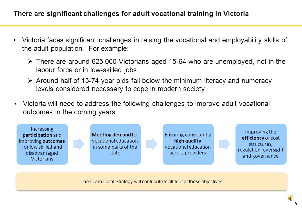 5 There are significant challenges for adult vocational training in Victoria Victoria faces significant challenges in raising the vocational and employability skills of the adult population.