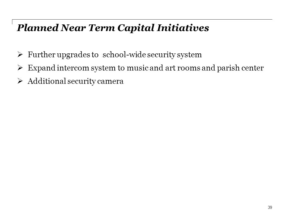 Planned Near Term Capital Initiatives Further upgrades to school-wide security system Expand intercom system to music and art rooms and parish center