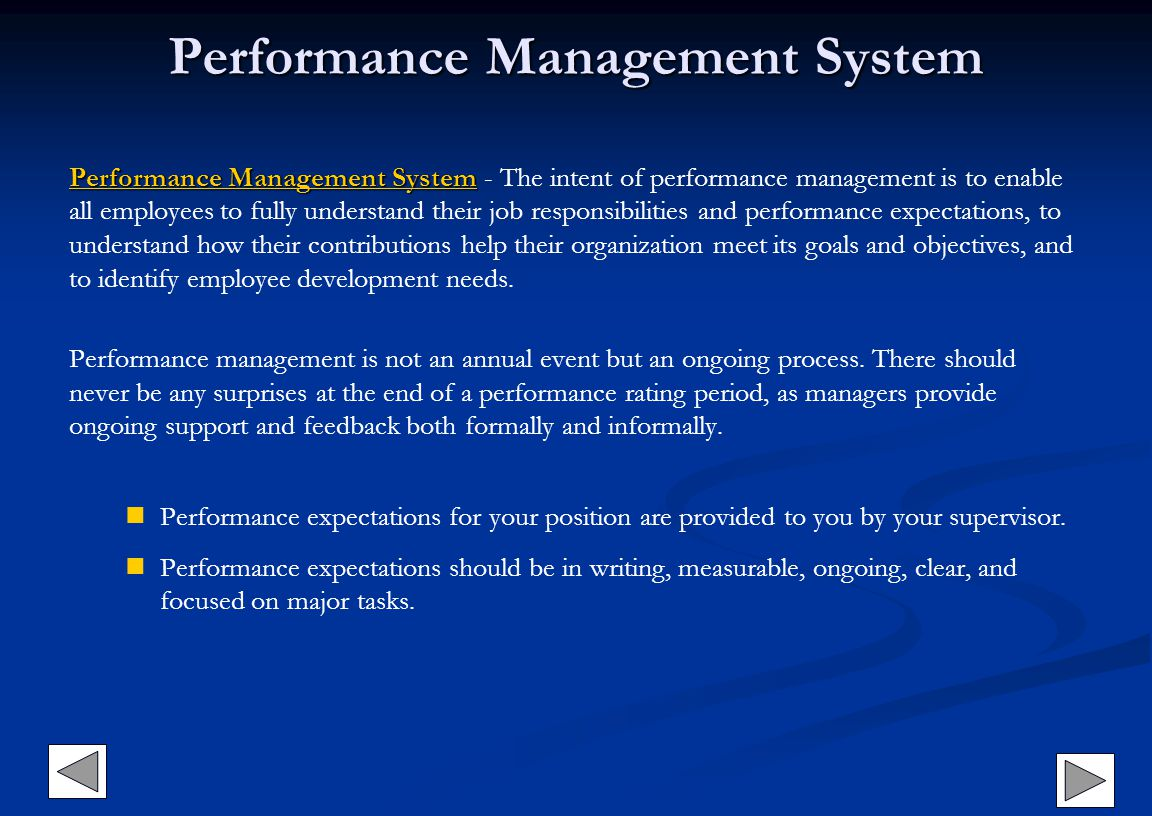 Performance Management System Performance Management SystemPerformance Management System Performance Management System - The intent of performance man