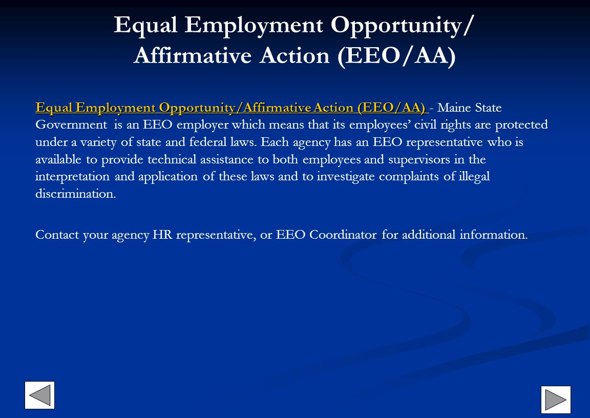 Equal Employment Opportunity/ Affirmative Action (EEO/AA) Equal Employment Opportunity/Affirmative Action (EEO/AA) Equal Employment Opportunity/Affirm