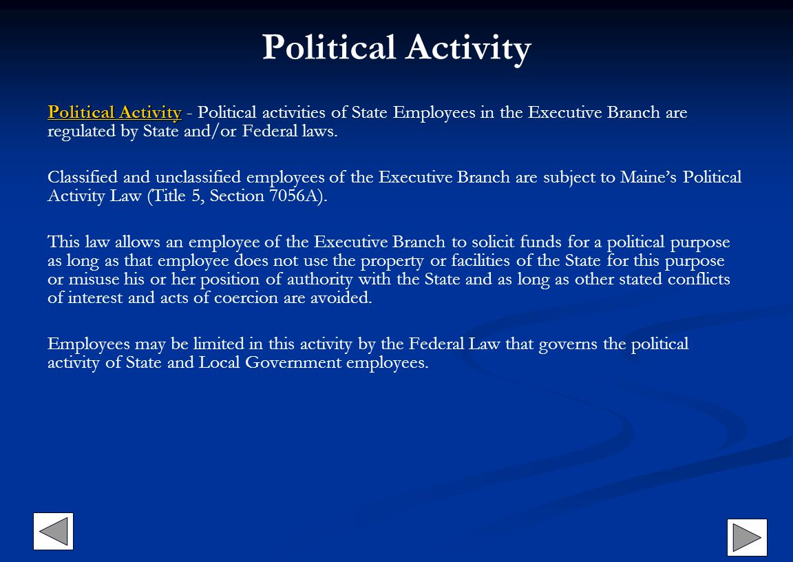 Political Activity Political Activity Political ActivityPolitical Activity Political Activity - Political activities of State Employees in the Executi