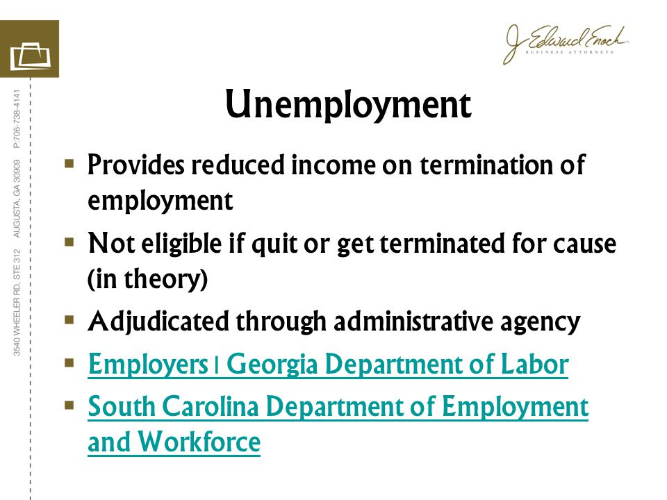 Provides reduced income on termination of employment Not eligible if quit or get terminated for cause (in theory) Adjudicated through administrative agency Employers | Georgia Department of Labor South Carolina Department of Employment and Workforce South Carolina Department of Employment and Workforce Unemployment