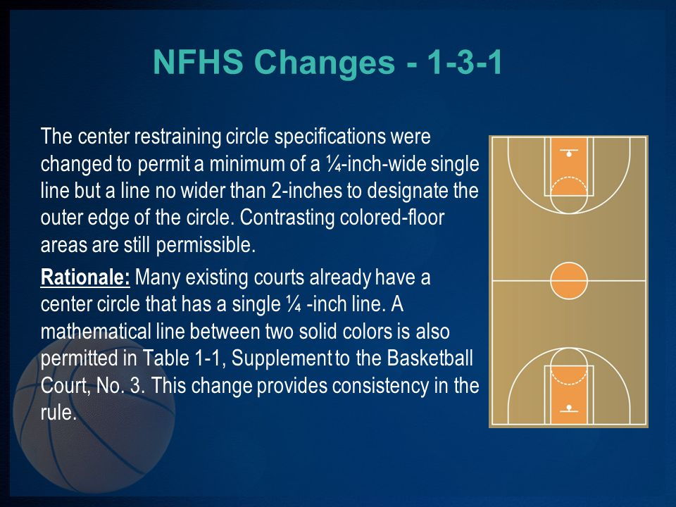 NFHS Changes - 1-3-1 The center restraining circle specifications were changed to permit a minimum of a ¼-inch-wide single line but a line no wider than 2-inches to designate the outer edge of the circle.