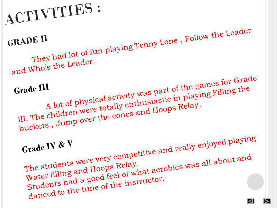 ACTIVITIES : GRADE II They had lot of fun playing Tenny Lone, Follow the Leader and Whos the Leader. Grade III A lot of physical activity was part of