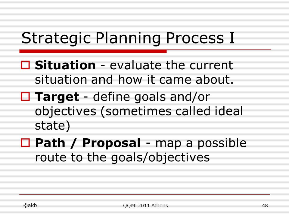 Strategic Planning Process I Situation - evaluate the current situation and how it came about. Target - define goals and/or objectives (sometimes call