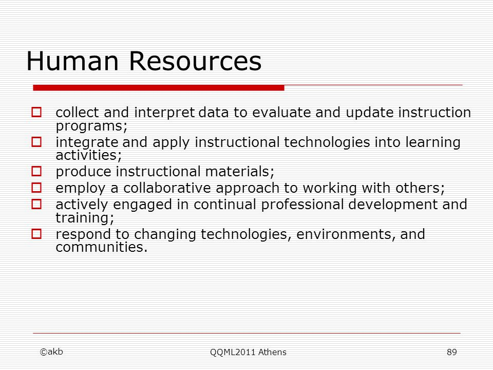 Human Resources collect and interpret data to evaluate and update instruction programs; integrate and apply instructional technologies into learning a