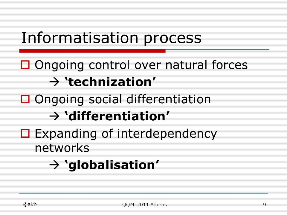 Informatisation process Ongoing control over natural forces technization Ongoing social differentiation differentiation Expanding of interdependency n