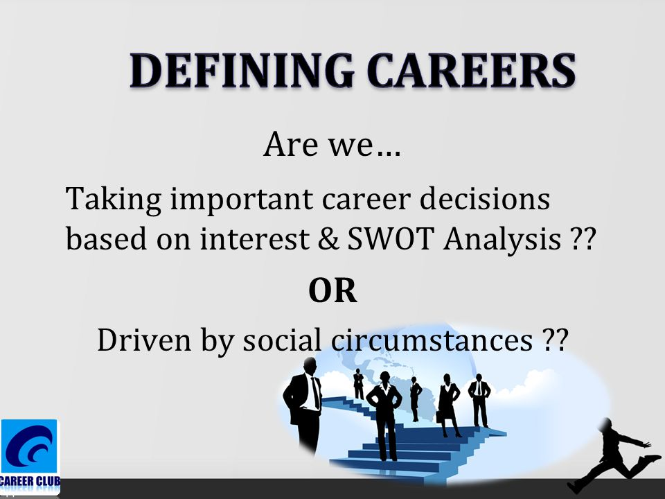 Are we… Taking important career decisions based on interest & SWOT Analysis .