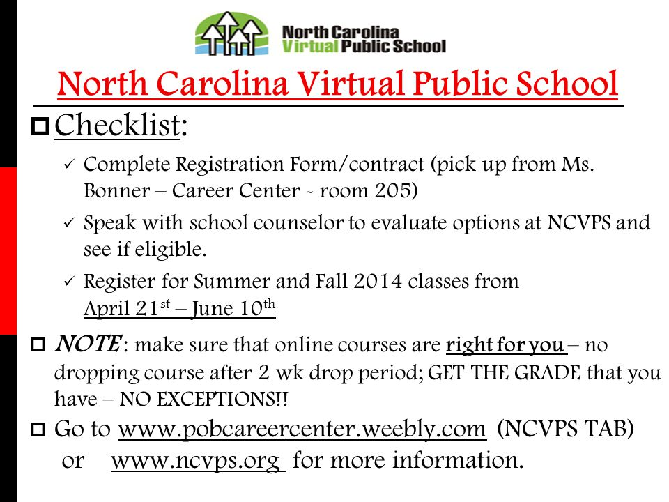 North Carolina Virtual Public School Checklist: Complete Registration Form/contract (pick up from Ms. Bonner – Career Center - room 205) Speak with sc