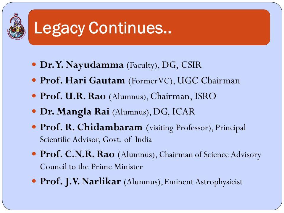 Legacy Continues.. Dr. Y. Nayudamma ( Faculty), DG, CSIR Prof.