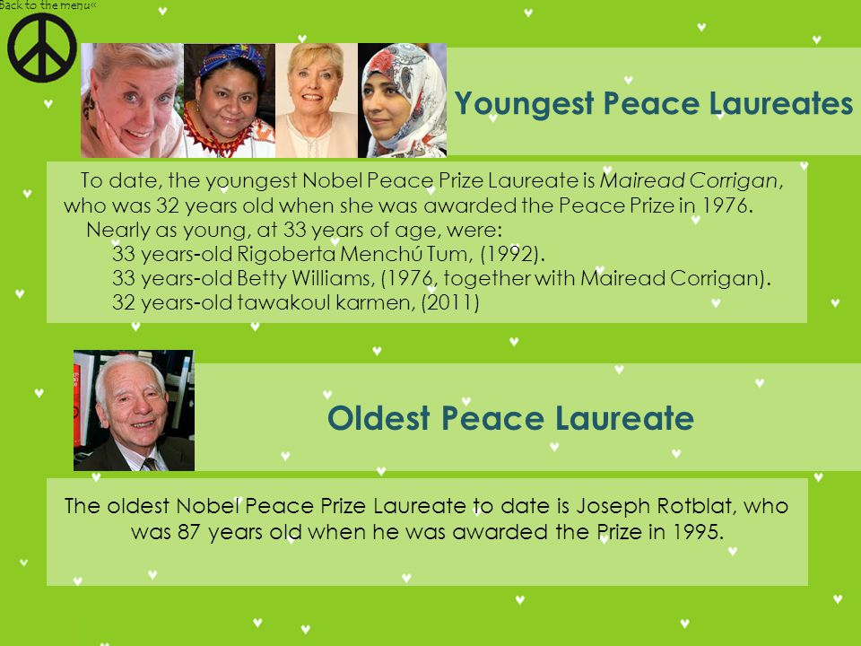 Youngest Peace Laureates To date, the youngest Nobel Peace Prize Laureate is Mairead Corrigan, who was 32 years old when she was awarded the Peace Prize in 1976.