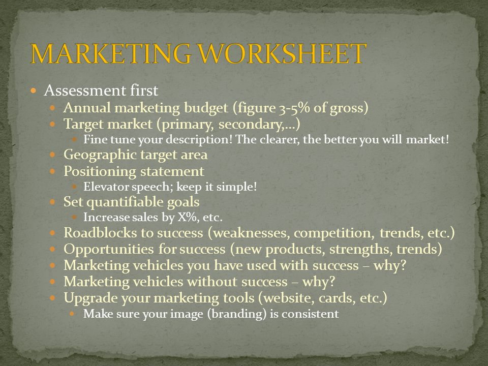 Assessment first Annual marketing budget (figure 3-5% of gross) Target market (primary, secondary,…) Fine tune your description.