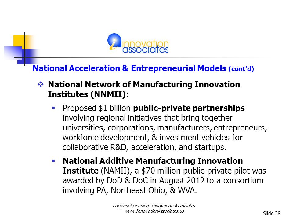copyright pending: Innovation Associates www.InnovationAssociates.us Slide 38 National Network of Manufacturing Innovation Institutes (NNMII): Proposed $1 billion public-private partnerships involving regional initiatives that bring together universities, corporations, manufacturers, entrepreneurs, workforce development, & investment vehicles for collaborative R&D, acceleration, and startups.