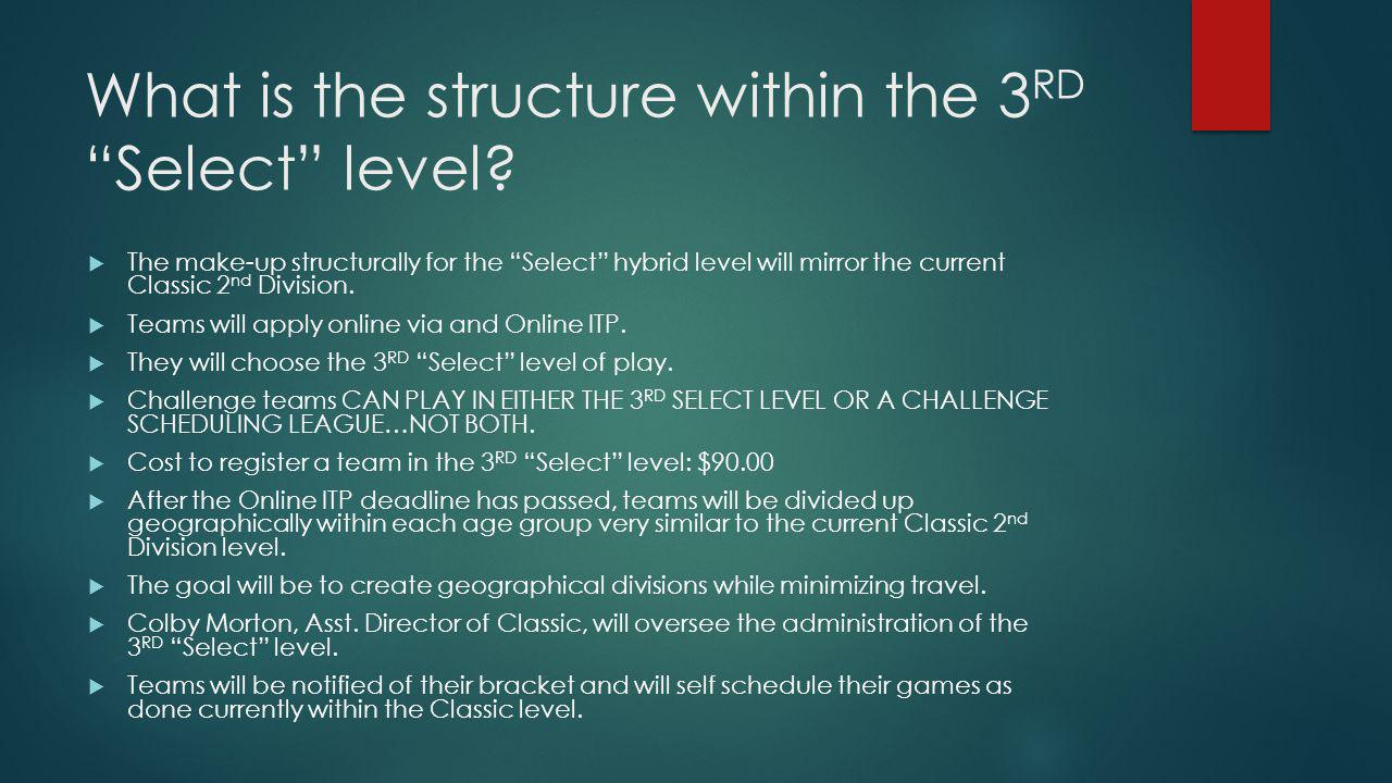 What is the structure within the 3 RD Select level? The make-up structurally for the Select hybrid level will mirror the current Classic 2 nd Division