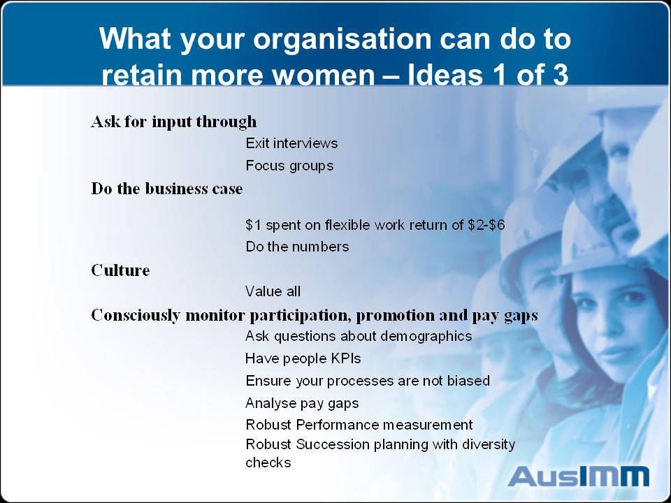 What your organisation can do to retain more women – Ideas 1 of 3