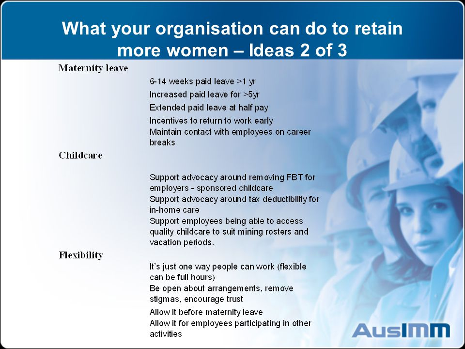 What your organisation can do to retain more women – Ideas 2 of 3