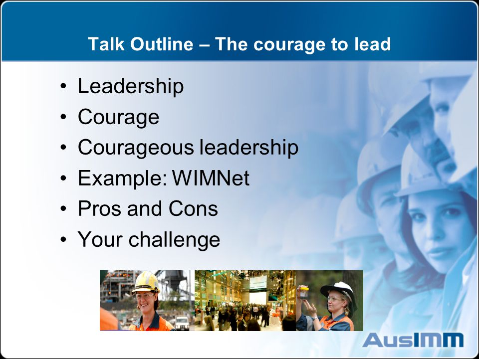 Talk Outline – The courage to lead Leadership Courage Courageous leadership Example: WIMNet Pros and Cons Your challenge