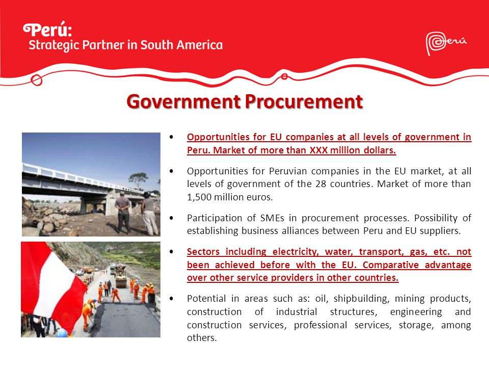 Opportunities for EU companies at all levels of government in Peru.
