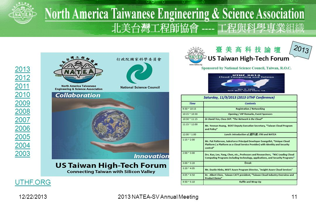 1112/22/2013 2013 2012 2011 2010 2009 2008 2007 2006 2005 2004 2003 2013 NATEA-SV Annual Meeting 2013 UTHF.ORG