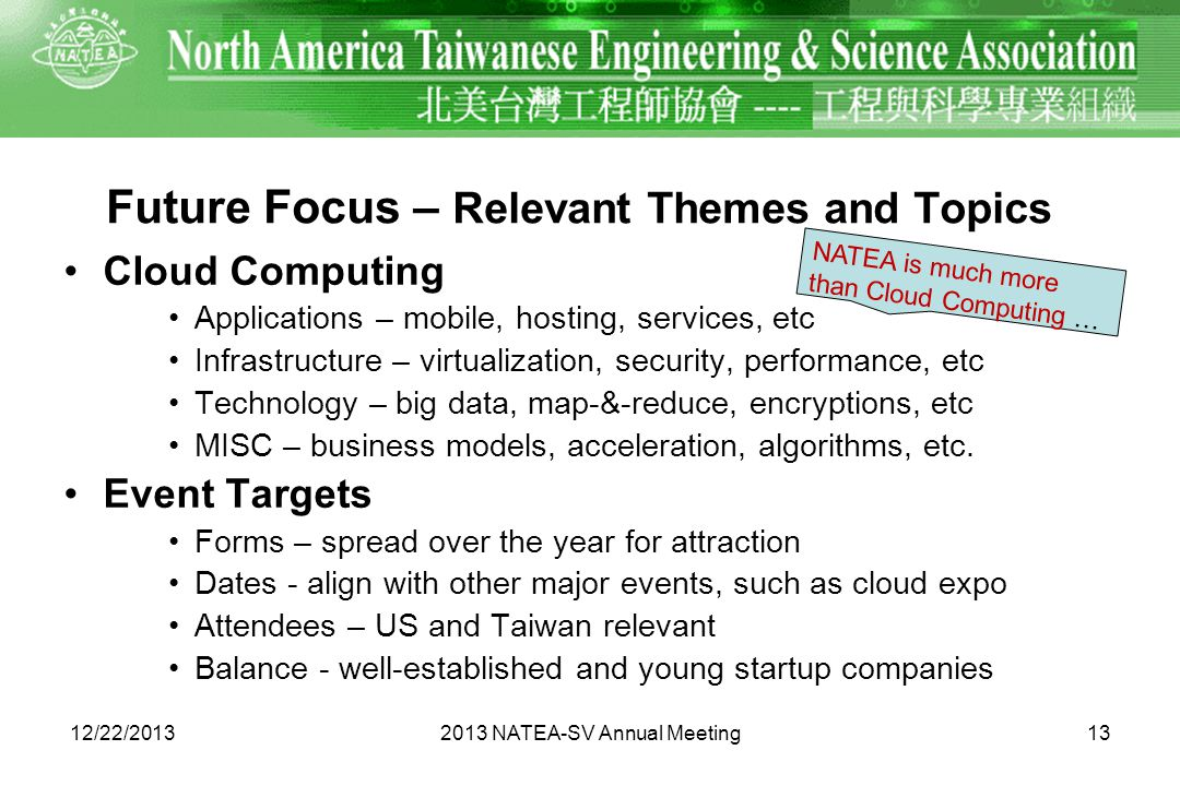 Future Focus – Relevant Themes and Topics Cloud Computing Applications – mobile, hosting, services, etc Infrastructure – virtualization, security, performance, etc Technology – big data, map-&-reduce, encryptions, etc MISC – business models, acceleration, algorithms, etc.