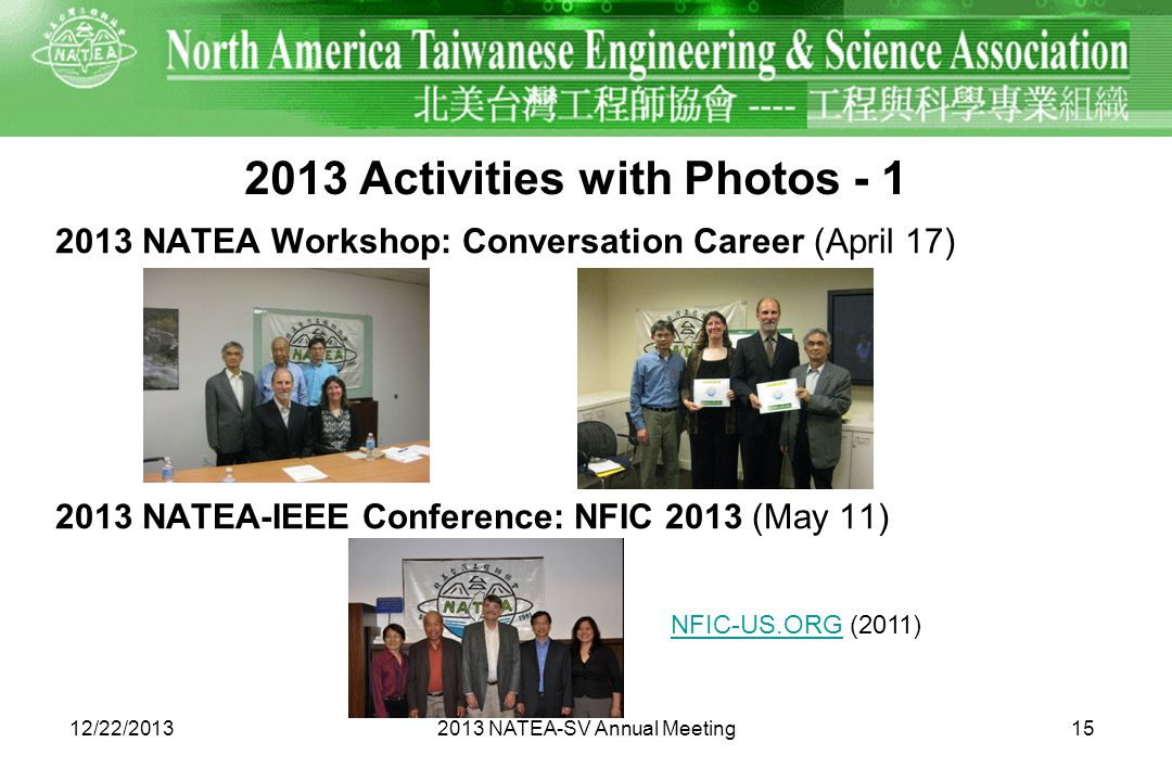 2013 Activities with Photos - 1 2013 NATEA Workshop: Conversation Career (April 17) 2013 NATEA-IEEE Conference: NFIC 2013 (May 11) 12/22/2013 15 2013 NATEA-SV Annual Meeting NFIC-US.ORGNFIC-US.ORG (2011)