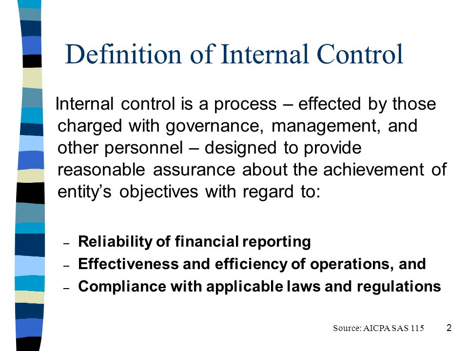 Definition of Internal Control Internal control is a process – effected by those charged with governance, management, and other personnel – designed to provide reasonable assurance about the achievement of entitys objectives with regard to: – Reliability of financial reporting – Effectiveness and efficiency of operations, and – Compliance with applicable laws and regulations Source: AICPA SAS 115 2
