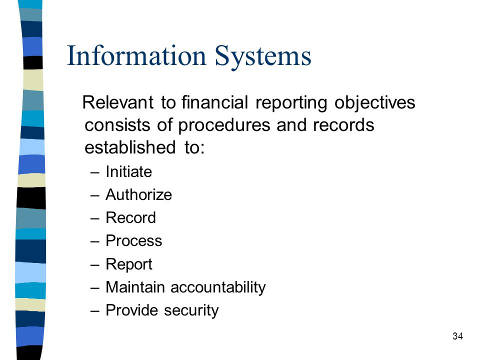 Information Systems Relevant to financial reporting objectives consists of procedures and records established to: –Initiate –Authorize –Record –Proces