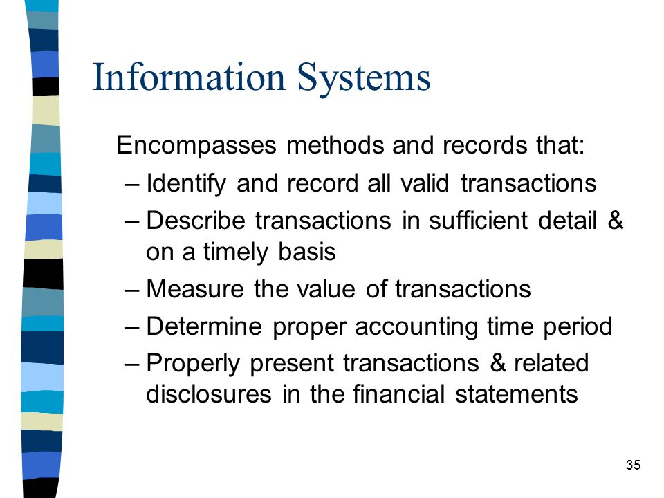 Information Systems Encompasses methods and records that: –Identify and record all valid transactions –Describe transactions in sufficient detail & on