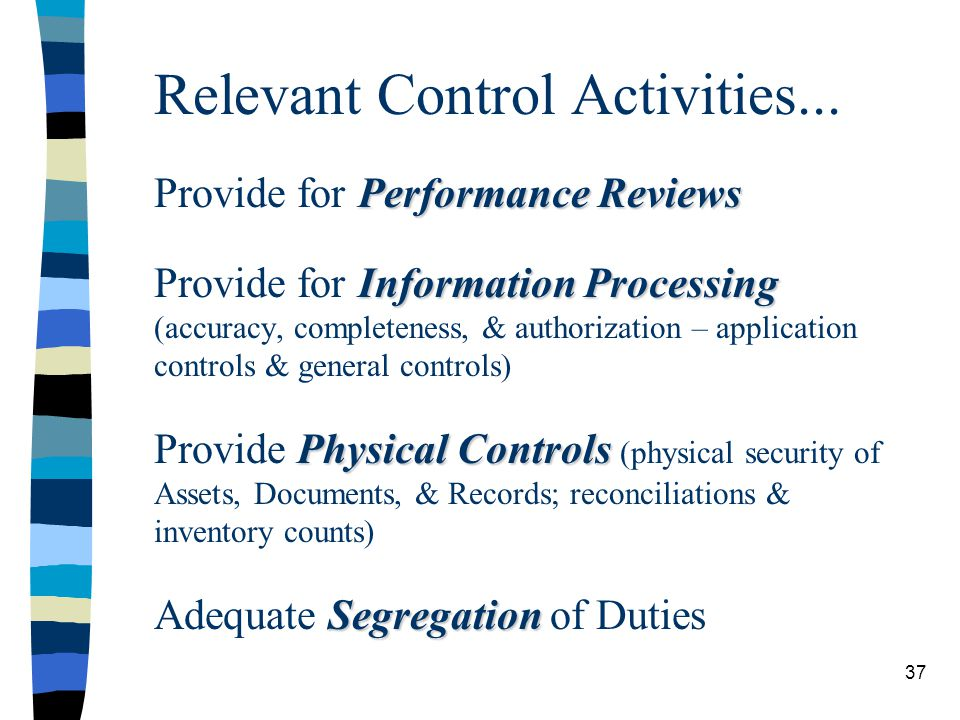 Performance Reviews Information Processing Physical Controls Segregation Relevant Control Activities... Provide for Performance Reviews Provide for In