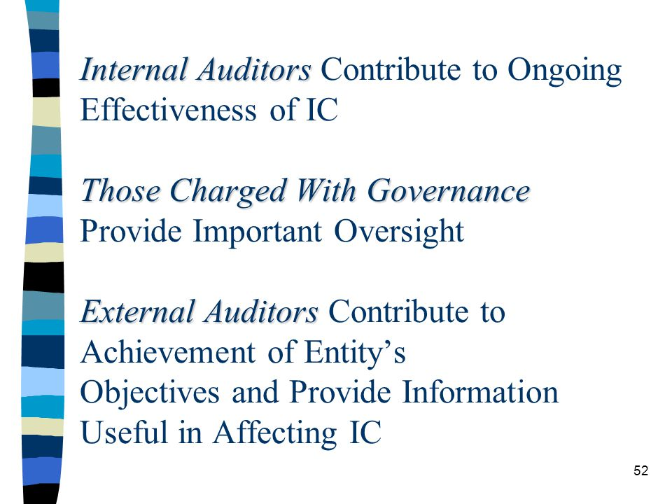 Internal Auditors Those Charged With Governance External Auditors Internal Auditors Contribute to Ongoing Effectiveness of IC Those Charged With Governance Provide Important Oversight External Auditors Contribute to Achievement of Entitys Objectives and Provide Information Useful in Affecting IC 52