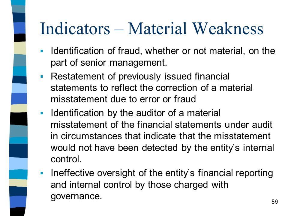 Indicators – Material Weakness Identification of fraud, whether or not material, on the part of senior management. Restatement of previously issued fi