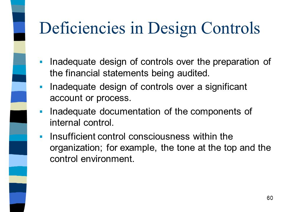 Deficiencies in Design Controls Inadequate design of controls over the preparation of the financial statements being audited. Inadequate design of con