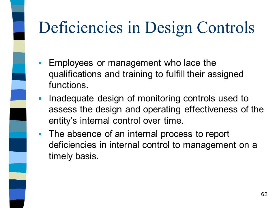 Deficiencies in Design Controls Employees or management who lace the qualifications and training to fulfill their assigned functions.