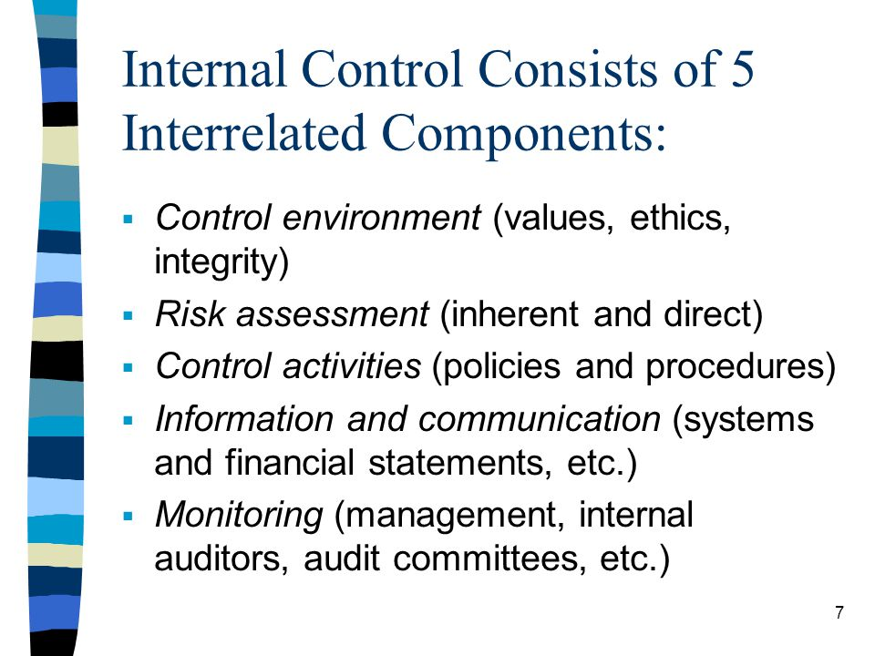 Internal Control Consists of 5 Interrelated Components: Control environment (values, ethics, integrity) Risk assessment (inherent and direct) Control