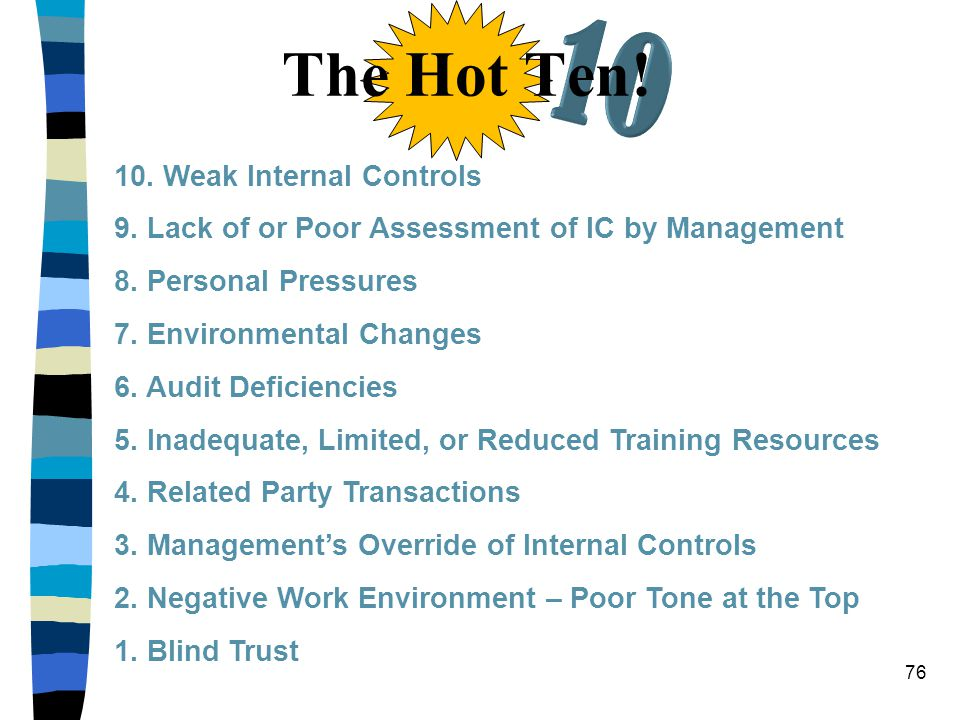 The Hot Ten! 10. Weak Internal Controls 9. Lack of or Poor Assessment of IC by Management 8. Personal Pressures 7. Environmental Changes 6. Audit Defi