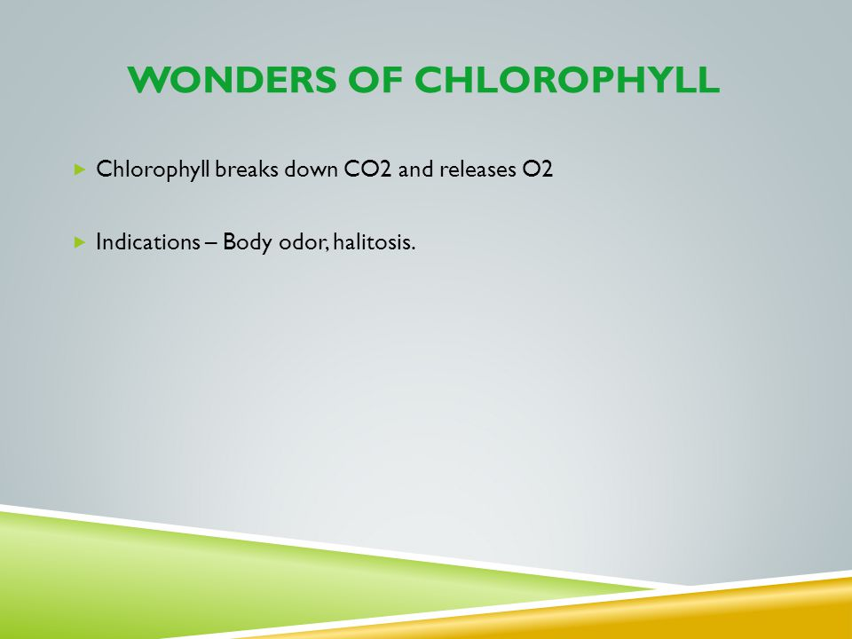 WONDERS OF CHLOROPHYLL Chlorophyll breaks down CO2 and releases O2 Indications – Body odor, halitosis.