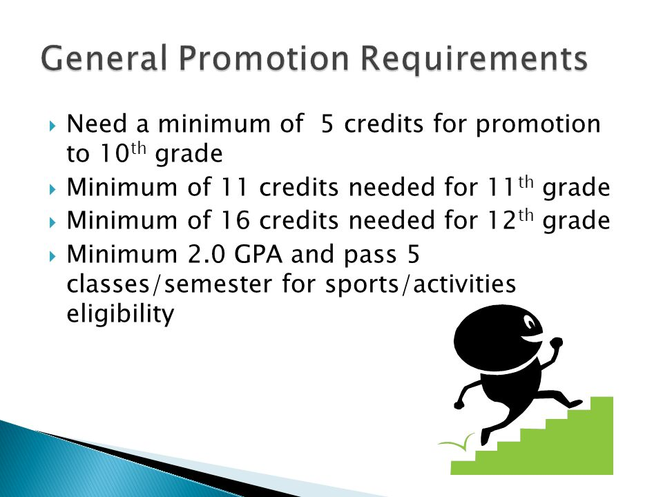 Need a minimum of 5 credits for promotion to 10 th grade Minimum of 11 credits needed for 11 th grade Minimum of 16 credits needed for 12 th grade Minimum 2.0 GPA and pass 5 classes/semester for sports/activities eligibility