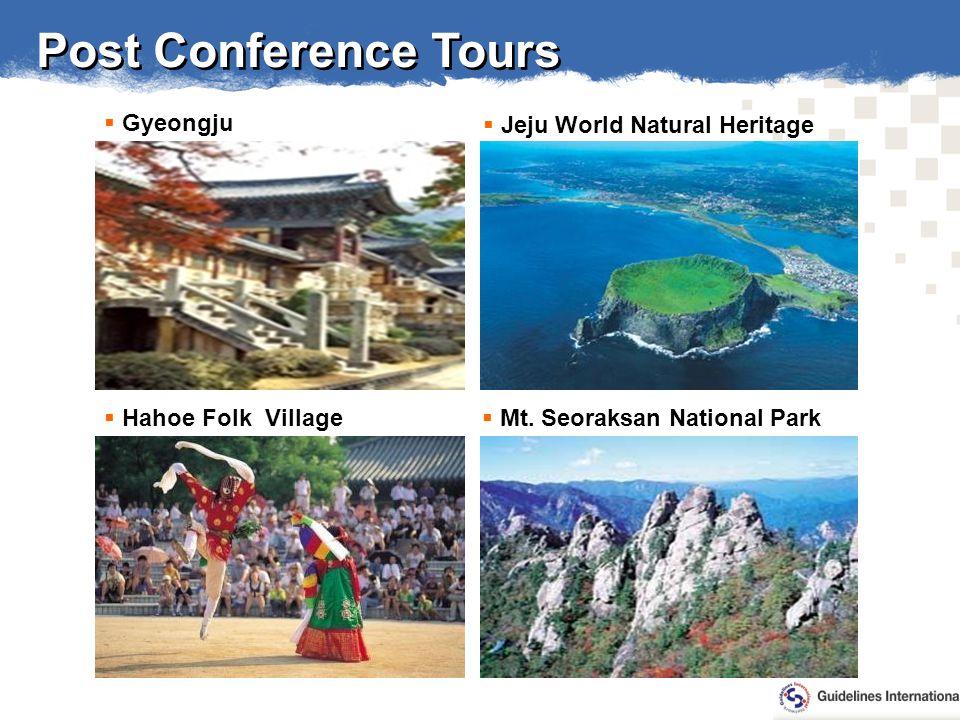 Post Conference Tours Jeju World Natural Heritage Gyeongju Mt.