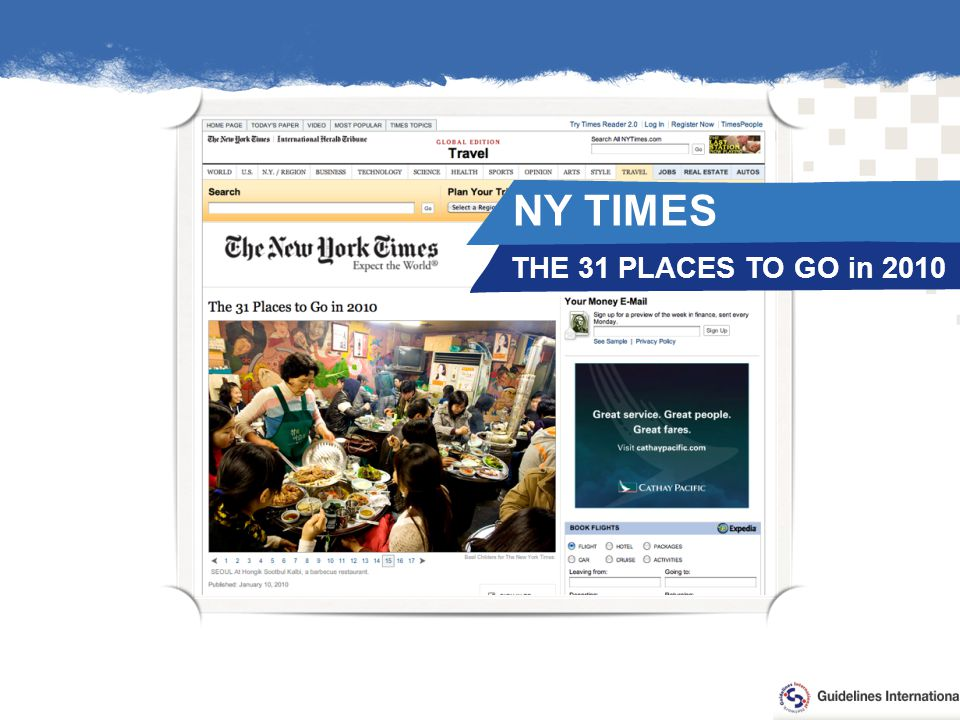 THE 31 PLACES TO GO in 2010 NY TIMES