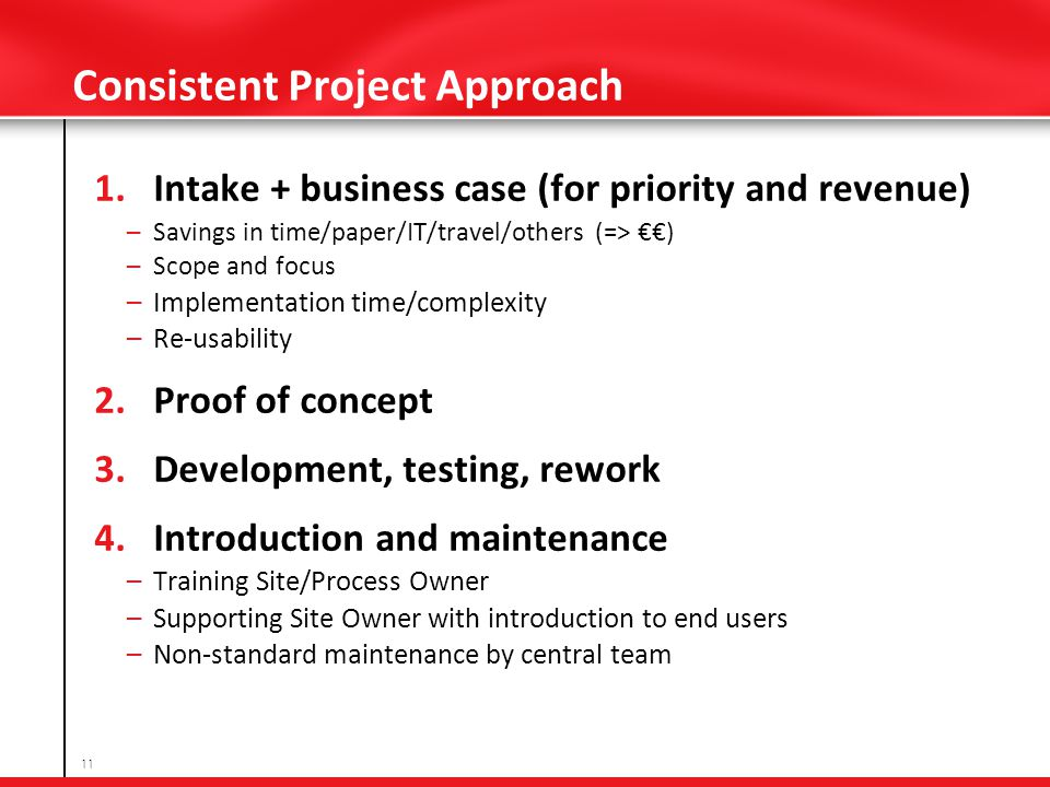 Consistent Project Approach 1.Intake + business case (for priority and revenue) – Savings in time/paper/IT/travel/others (=> ) – Scope and focus – Implementation time/complexity – Re-usability 2.Proof of concept 3.Development, testing, rework 4.Introduction and maintenance – Training Site/Process Owner – Supporting Site Owner with introduction to end users – Non-standard maintenance by central team 11