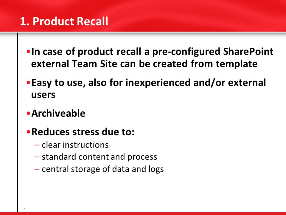 1. Product Recall In case of product recall a pre-configured SharePoint external Team Site can be created from template Easy to use, also for inexperi