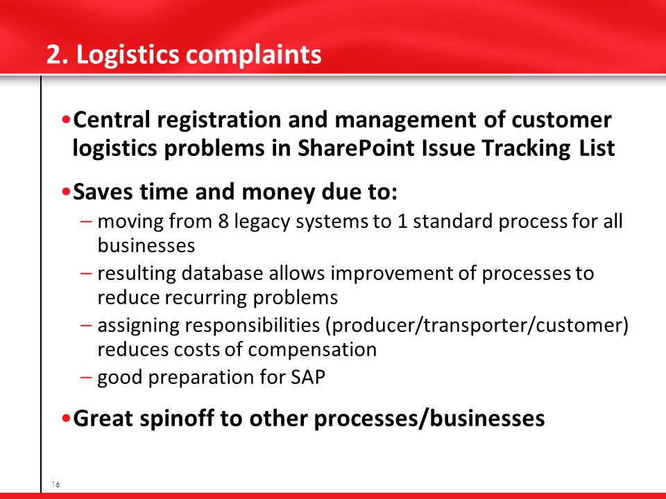 2. Logistics complaints Central registration and management of customer logistics problems in SharePoint Issue Tracking List Saves time and money due
