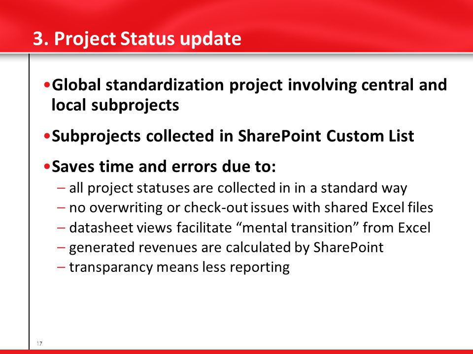 3. Project Status update Global standardization project involving central and local subprojects Subprojects collected in SharePoint Custom List Saves