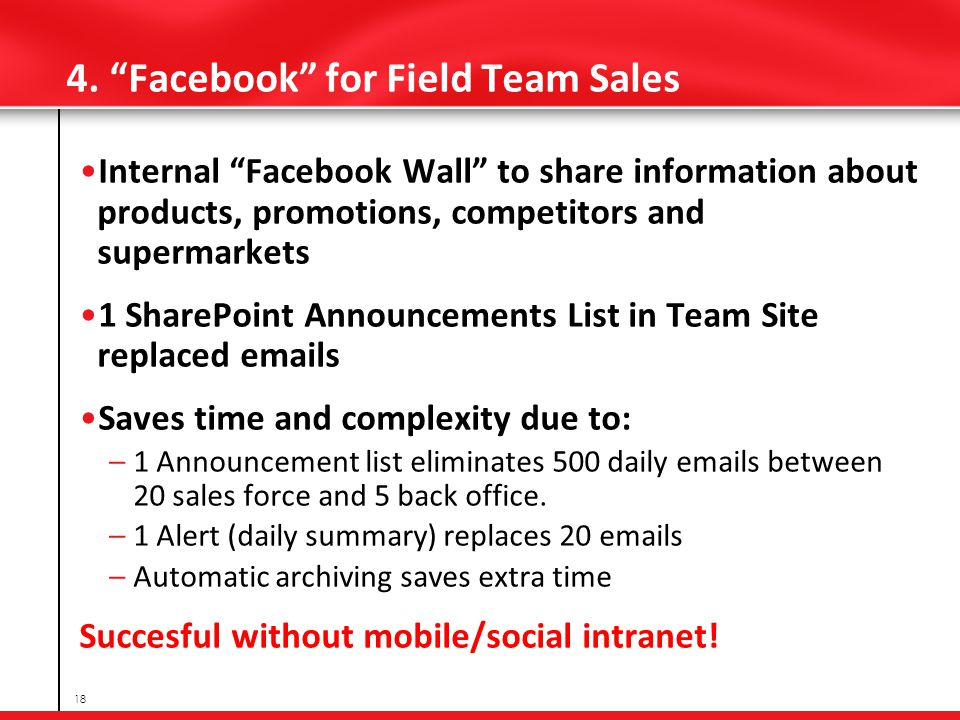 4. Facebook for Field Team Sales Internal Facebook Wall to share information about products, promotions, competitors and supermarkets 1 SharePoint Ann