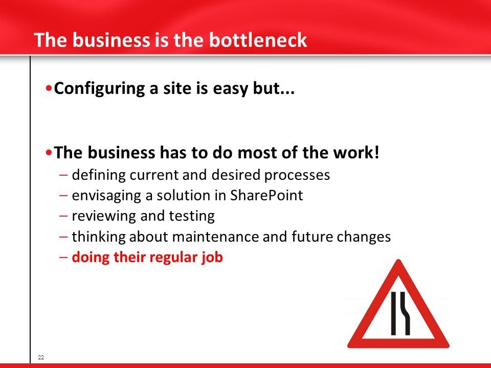 The business is the bottleneck Configuring a site is easy but...